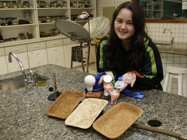 Adolescente curitibana cria embalagem biodegradável a partir do bagaço de cana